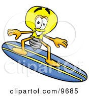 Light Bulb Mascot Cartoon Character Surfing On A Blue And Yellow Surfboard by Toons4Biz