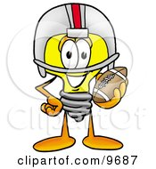 Clipart Picture Of A Light Bulb Mascot Cartoon Character In A Helmet Holding A Football