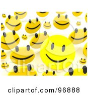 Royalty Free RF Clipart Illustration Of A Background Of Happy Faces Bouncing Over White 1 by Jiri Moucka