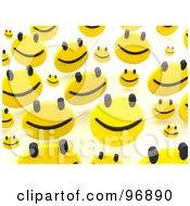Royalty Free RF Clipart Illustration Of A Background Of Happy Faces Bouncing Over White 2