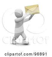 3d Blanco Man Holding Up An Envelope