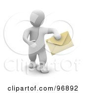 3d Blanco Man Holding Out An Envelope