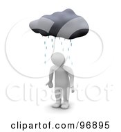 Royalty Free RF Clipart Illustration Of A 3d Blanco Man Standing Helpless Under A Rain Cloud