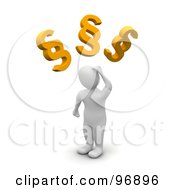 Royalty Free RF Clipart Illustration Of A 3d Blanco Man Confused Over Legal Pargraphs by Jiri Moucka