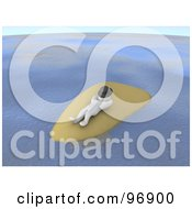 Royalty Free RF Clipart Illustration Of A 3d Blanco Man Napping With A Hat Over His Face On An Isolated Island