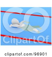 Royalty Free RF Clipart Illustration Of A 3d Blanco Man Swimming Laps In A Pool by Jiri Moucka
