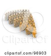3d Rows Of Orange People