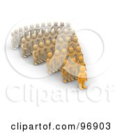 Royalty Free RF Clipart Illustration Of 3d Rows Of Orange People
