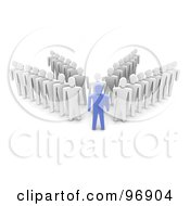 Royalty Free RF Clipart Illustration Of A 3d Blue Man Standing In Front Of Four Rows Of Followers