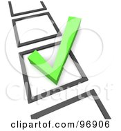 Royalty Free RF Clipart Illustration Of A 3d Green Check Mark In A Vertical List Of Boxes