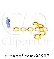 Royalty Free RF Clipart Illustration Of A 3d Blue Man Facing An Arrow Of Rings by Jiri Moucka