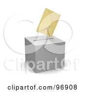 Royalty Free RF Clipart Illustration Of A 3d Envelope Hovering Over A Gray Ballot Box