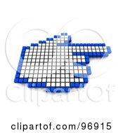 3d Blue And White Pixel Hand Cursor