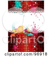 Royalty Free RF Clipart Illustration Of A Disco Party Background With A Ball Arrows And Splatters Over Red by MilsiArt