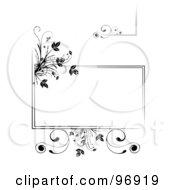 Digital Collage Of Black Floral Frame Elements