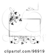 Digital Collage Of Black Floral Frame Elements