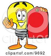 Light Bulb Mascot Cartoon Character Holding A Red Sales Price Tag