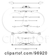 Royalty Free RF Clipart Illustration Of A Digital Collage Of Black Ornamental Divider Lines