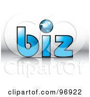 Royalty Free RF Clipart Illustration Of A Wire Globe As The Dot For I In The Word Biz