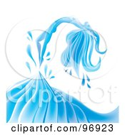 Royalty Free RF Clipart Illustration Of A Graceful Water Woman Arching Backwards Over A Wave
