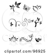 Royalty Free RF Clipart Illustration Of A Digital Collage Of Black And White Floral And Butterfly Logo Icon Designs by MilsiArt