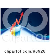 Royalty Free RF Clipart Illustration Of A Red Arrow Showing Profit Rising Over A Bar Graph With A Blue Map Background by MilsiArt