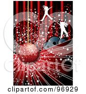 Royalty Free RF Clipart Illustration Of Silhouetted Jumping Girls With Stars Over Speakers And A Disco Ball by MilsiArt