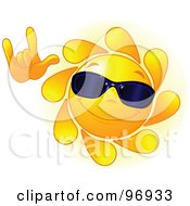 Royalty Free RF Clipart Illustration Of A Cute Sun Face Wearing Shades And Gesturing With One Hand