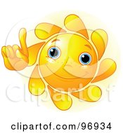 Royalty Free RF Clipart Illustration Of A Cute Sun Face Holding One Finger Up by Pushkin