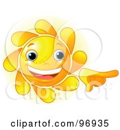 Royalty Free RF Clipart Illustration Of A Cute Sun Face Smiling And Pointing by Pushkin
