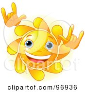 Royalty Free RF Clipart Illustration Of A Cute Sun Face Rocking Out by Pushkin