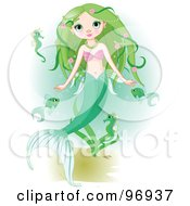Beautiful Green Haired Mermaid Swimming With Fish And Seahorses