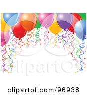 Royalty Free RF Clipart Illustration Of An Arch Of Colorful Birthday Party Balloons Ribbons And Confetti