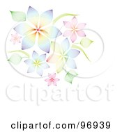 Royalty Free RF Clipart Illustration Of A Cluster Of Colorful Wire Mesh Flowers And Leaves With Text Space