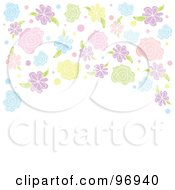 Royalty Free RF Clipart Illustration Of A Spring Time Background Of Colorful Flowers Arching Over White Space by Pushkin