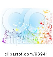Spring Time Background Of Colorful Swallows Vines And Music Notes Over Blue Grunge
