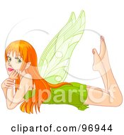 Royalty Free RF Clipart Illustration Of A Bored Red Haired Fairy Resting Her Head In Her Arms And Laying On Her Belly