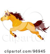 Royalty Free RF Clipart Illustration Of A Leaping Butterscotch Colored Horse In Profile by Pushkin