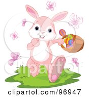 Royalty Free RF Clipart Illustration Of A Jolly Pink Bunny Walking Through Butterflies And Grass While Carrying An Easter Basket Of Eggs