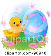Royalty Free RF Clipart Illustration Of An Easter Chick Surrounded By Butterflies Painting An Egg by Pushkin
