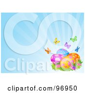Royalty Free RF Clipart Illustration Of Colorful Butterflies And Patterned Easter Eggs On A Shining Blue Background