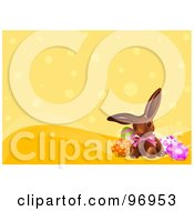 Royalty Free RF Clipart Illustration Of A Chocolate Easter Bunny With Colorful Eggs Over An Orange Dot Background