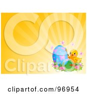 Royalty Free RF Clipart Illustration Of An Easter Chick Painting A Blue Egg With Butterflies Over An Orange Shining Background