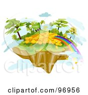 Royalty Free RF Clipart Illustration Of A Rainbow Ending At A Pile Of Gold And A Leprechaun Hat On A Floating Island by BNP Design Studio