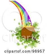 Royalty Free RF Clipart Illustration Of A Green Leprechauns Hat By A Pot Of Gold Over Giant Clovers At The End Of A Rainbow by BNP Design Studio