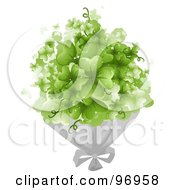 Royalty Free RF Clipart Illustration Of A Bouquet Of Magical Green Shamrock Clovers by BNP Design Studio