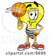 Clipart Picture Of A Light Bulb Mascot Cartoon Character Spinning A Basketball On His Finger by Toons4Biz