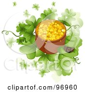 Royalty Free RF Clipart Illustration Of A Green Leprechaun Hat By A Pot Of Gold Over Giant Clovers by BNP Design Studio