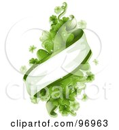 Royalty Free RF Clipart Illustration Of A Ribbon Banner Wrapping Around A Bunch Of Magical Green Shamrocks