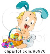 Royalty Free RF Clipart Illustration Of A Blond Baby Wearing Bunny Ears And Sitting By An Easter Basket by BNP Design Studio